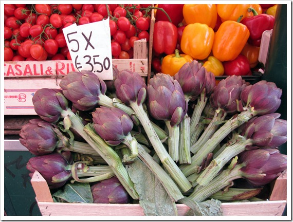 Violetta Carciofi (artichokes) artfully arranged