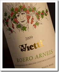Vietti Roero Arneis 2009 - Click for a closeup (funky label, eh?)