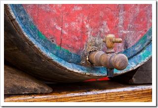 Ancient barrel in a brunello cantina