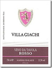 Example of an Italian VdT Wine - Villa Giachi