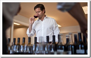 Cameron Hughes tasting wines, from the NY Times article 'Bypassing the Grape but Enjoying Its Fruits'