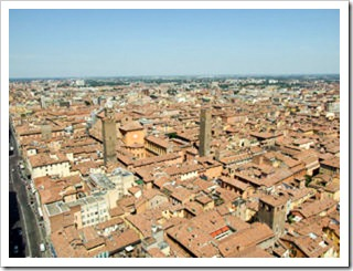 View from Asinelli Tower in Bologna