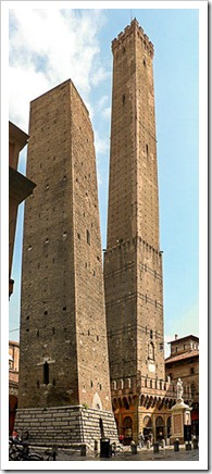 The 2 Towers of Garisenda (shorter) and Asinelli in Bologna