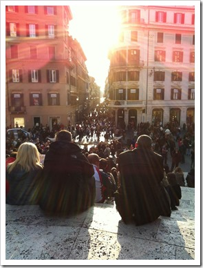 Hanging out on the Spanish Steps as sunset approaches