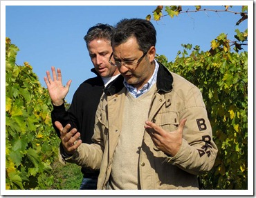 Yours truly (left) with Cortona DOC winemaker and Sommelier buddy Arnaldo Rossi, praying for a good harvest. Seriously. ;-)