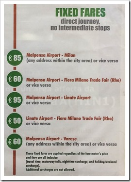 Schedule of fixed taxi fares from Malpensa to Milan and back