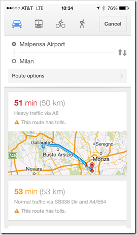 Taking a car or taxi from Malpensa to Milan