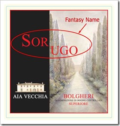 The Fantasy Name on an Italian wine label