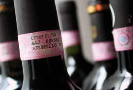 Typical DOCG stamp on a Brunello bottle