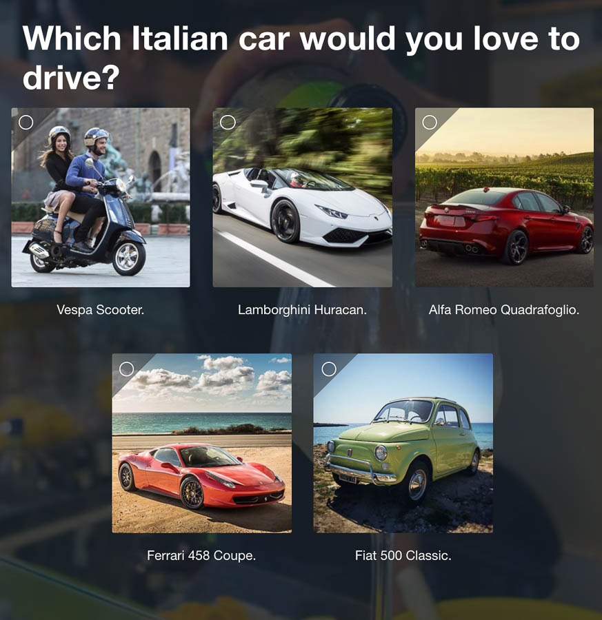 Question 3: Which Italian car would you love to drive?