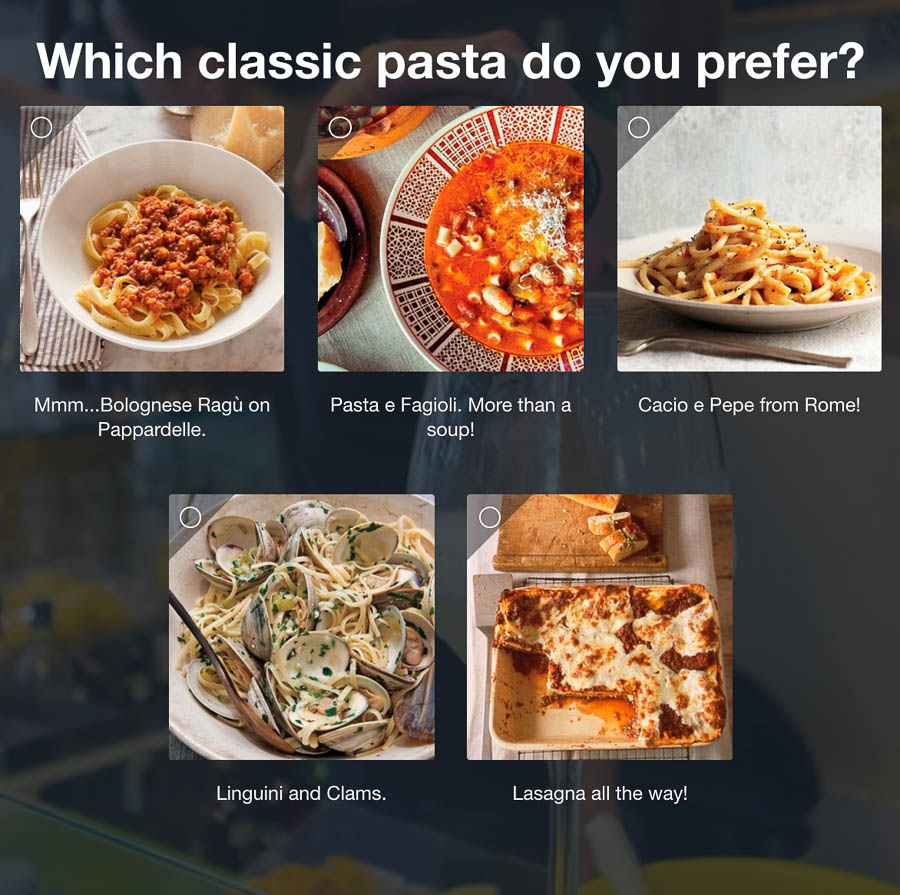 Question 4: Which classic pasta do you prefer?