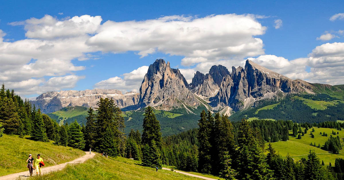 The glorious Dolomiti mountains in the Alpe di Siusi. Stunning.